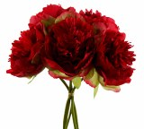 Artificial Peony Rose Bundle 5 Stems Red