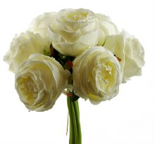 Artificial Rose Bunch Large x 7 Stems Ivory