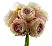 Artificial  Rose Bunch Large x 7 Stems Ivory/ Pink