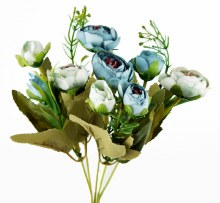 Artificial Flower Ranunculus Bundle Blue x 10