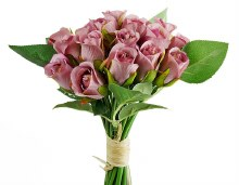 Artificial Bud Rose Bunch Blush Lilac x 20 Stems