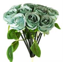 Artificial Rose Bunch x 10 Heads Blue
