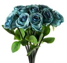 Artificial Rose Bunch x 10 Heads Dark Blue