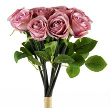 Artificial Rose Bunch x 10 Heads Lavender