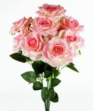 Artificial Rose Bunch x 10 Heads Pink