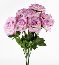 Artificial Rose Bunch x 10 Heads Lilac