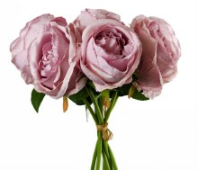 Artificial Rose Bunch x 7 Heads Lilac
