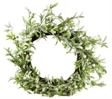 Artificial Mistletoe Frosted Glitter Wreath 24""
