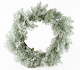 Christmas Frosted White Spruce Wreath 24""