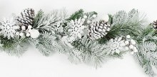 Christmas Artificial Snow Pine Cone Garland 4ft