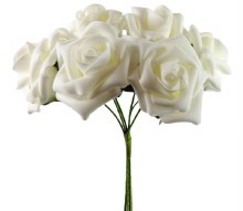 Artificial Foam Roses Ivory 7cm 6 Stems