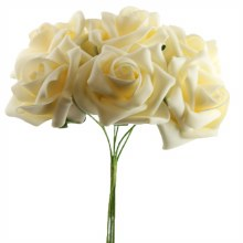 Artificial Foam Roses Cream 7cm 6 Stems
