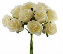 Artificial Foam Rose Bunch Cream 3.5cm 12 Stems