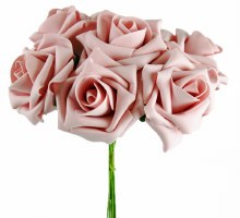 Artificial Foam Rose Vintage Pink 7cm 6 Stems