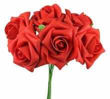 Artificial Foam Rose Flower 7cm x 6 Red