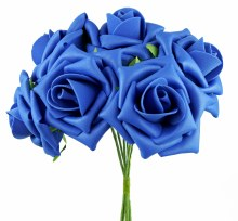 Artificial Foam Rose Flower 7cm x 6 Royal Blue