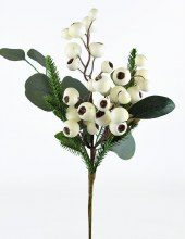 Artificial Berry Stem White 17""