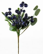 Artificial Berry Stem Blue 17""
