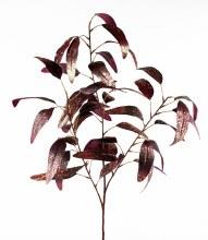 Glitter Christmas Leaves Deep Burgundy/ Copper 72cm