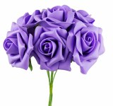Foam Rose Flower 7cm x 8 Lilac