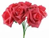 Foam Rose Flower 7cm x 6 Raspberry