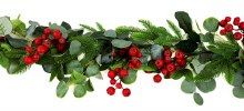 Faux Christmas Eucalyptus, Pine & Red Rosehip Berry Garland 5ft