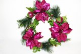 Christmas poinsettia wreath fuschia 24in