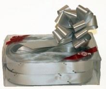 Box of 30 silver 31mm ribbon pullbows P05