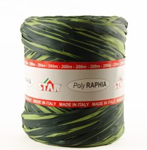Poly raphia ribbon green/lime 200m