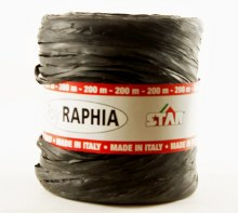 Poly raphia ribbon black 200m