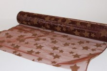 Chocolate star flocked decorative organza fabric, 40cm x 5m