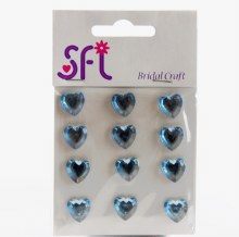 Heart Diamante Craft Stickers x 12 Blue