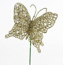 Light gold glitter decorative butterfly,10cm