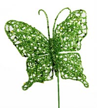 Lime green glitter decorative butterfly,10cm