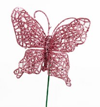 Pink glitter decorative butterfly, 10cm