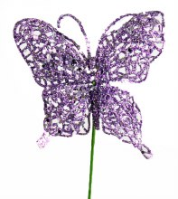 Purple glitter decorative butterfly,10cm