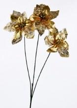 Poinsettia Stem Gold/ Glitter 65cm