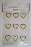 Gold heart bling wedding invitation stickers x 9