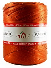 Poly Raphia Ribbon 200m Burnt Orange