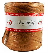 Poly Raphia Ribbon Copper 200m
