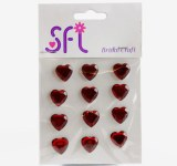 Heart Diamante Craft Stickers Red x 12