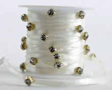 Diamante Satin Ribbon Ivory x 3m