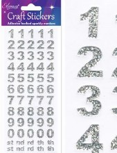 Silver Number stickers Bold x 1 sheet