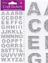 Silver Glitter Letter Stickers x 1 Sheet