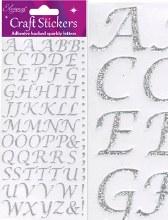 Silver Glitter Letters x 1 Sheet