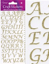 Stick on Letters Gold Craft Stickers x 1 sheet