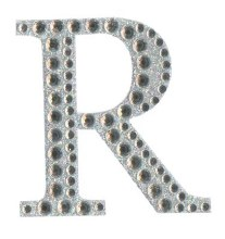 Large Diamante Letter Sticker R