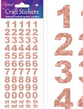 Glitter Invitation number Stickers – Rose Gold x 1 Sheet
