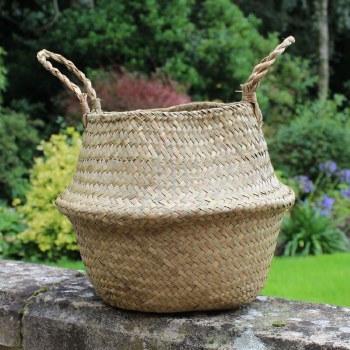 Natural Woven Belly Basket 20cm