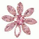 3 x pink crystal flower brooch 28mm